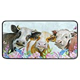 MOYYO Kitchen Mat Watercolor Cows Animal Kitchen Rug Mat Anti-Fatigue Comfort Floor Mat Non Slip Oil Stain Resistant Easy to Clean Kitchen Rug Bath Rug Carpet for Indoor Outdoor Doormat