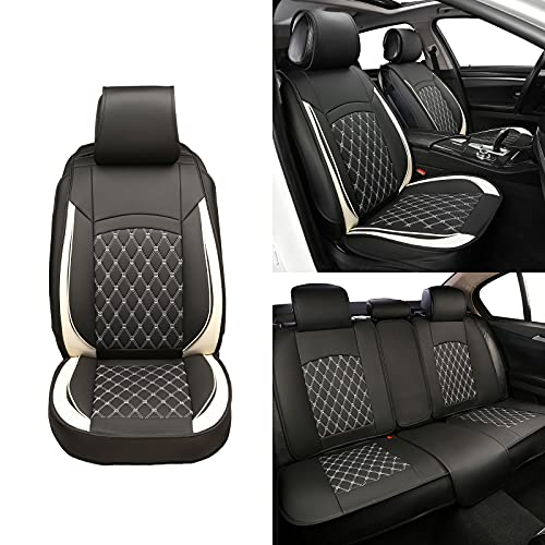 ISFC INSURFINSPORT 5 Car Seat Covers - Black and White Leather Car Seat Covers Full Seat with 2 Car Backseat Storage on Front Seat Waterproof for Most Sedan SUV Truck for Ford Mazda Chevrolet