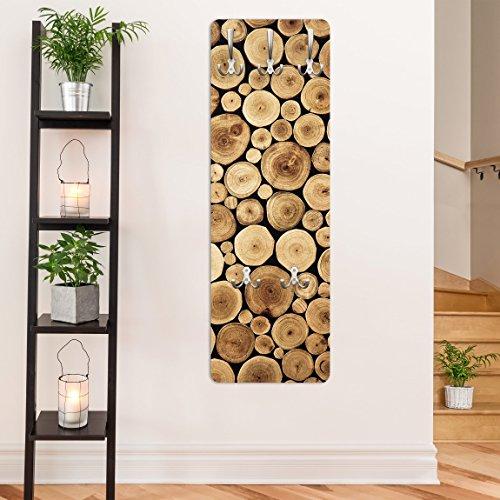 Apalis Wandgarderobe Homey Firewood Design Garderobe Garderobenpaneel Kleiderhaken Flurgarderobe Hakenleiste Holz Standgarderobe Hängegarderobe, Größe HxB: 139cm x 46cm