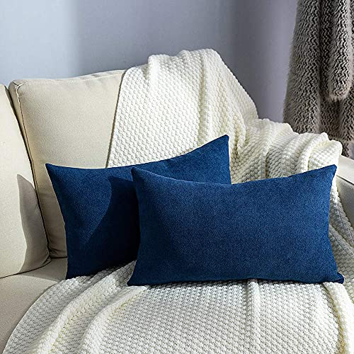 NANPIPER Decorative Throw Pillow Cover Navy Blue Faux Suede Cushion Pillowcase 12x20 Inches Set of 2, Comfortable Protectors Covers for Sofa Home Couch