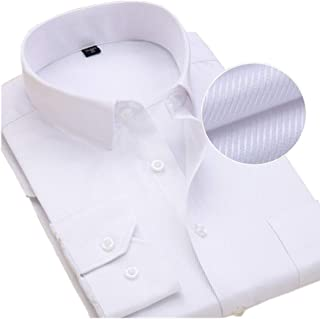 pgooodp Cotton Dress Shirts for Men Long Sleeve Regular Fit Solid Color