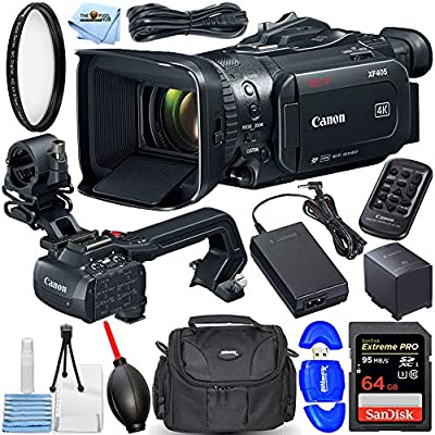 Canon XF405 Professional Camcorder - Essential Bundle Includes: Extreme Pro 64GB SD, Memory Card Reader, UV Ultraviolet Filter, Gadget Bag, Blower, Microfiber Cloth and Cleaning Kit by Pixel Hub