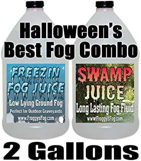 Froggys Fog -Swamp Juice and Freeezin Fog Fluid Combo - 2 Gallons - Long-Lasting Fog and Low-Lying Fog Combo