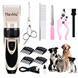 HanShe Dog Clippers Low Noise Pet Clippers Rechargeable Dog Trimmer Cordless Pet Grooming Tool Professional Dog Hair Trimmer with Comb Guides Scissors Nail Kits for Dogs Cats & Other