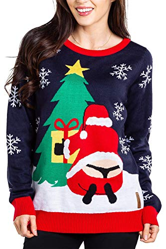 Tipsy Elves Women's Winter Whale Tail Sweater - Funny Santa Ugly Christmas Sweater: Medium Blue