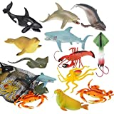 ArtCreativity Aquatic Animal Assortment in Mesh Bag, Pack of 11 Sea Creature Figurines in Assorted Designs, Bath Water Toys for Kids, Ocean Life Party Décor, Party Favors for Boys and Girls