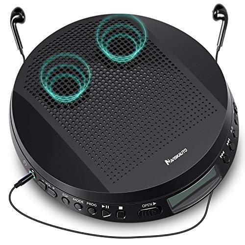 NAVISKAUTO Lettore CD portatile con doppio altoparlante e cuffie, antivibrazione, supporta CD/CD-R/CD-RW/ MP3/ Audiolibri, walkman MP3