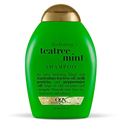OGX Hydrating + Tea Tree Mint Shampoo, Nourishing & Invigorating Scalp Shampoo with Tea Tree & Peppermint Oil & Milk Proteins, Paraben-Free, Sulfate-Free Surfactants, 13 fl oz
