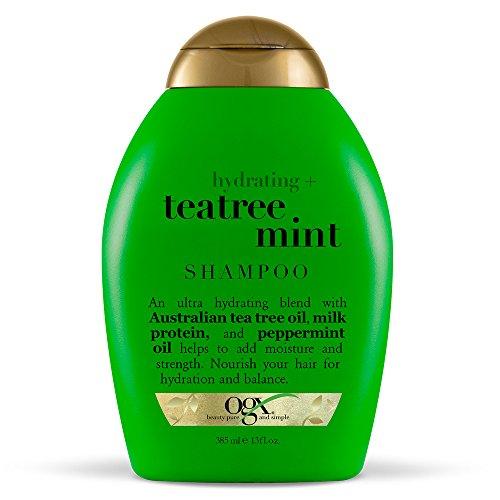 OGX Hydrating + Tea Tree Mint Shampoo, Nourishing & Invigorating Scalp Shampoo with Tea Tree & Peppermint Oil & Milk Proteins, Paraben-Free, Sulfate-Free Surfactants, 13 fl oz