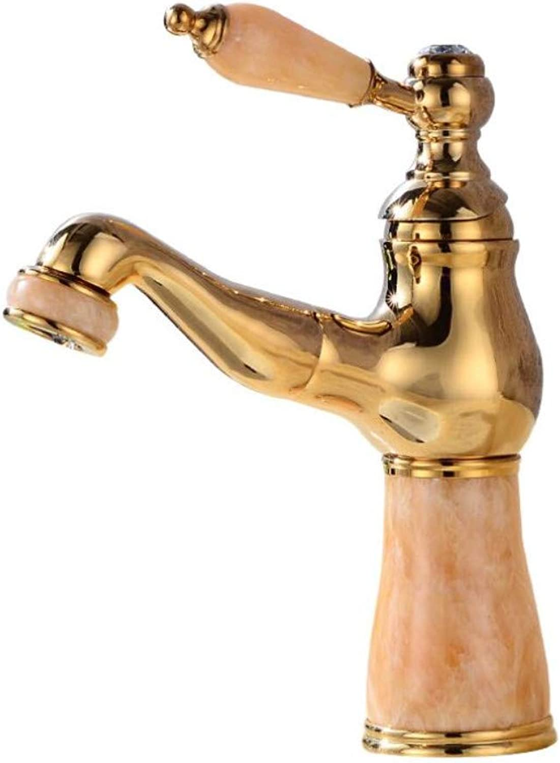 gold Sink Bathroom Faucet Copper Handles Basin Water Tap Deck Mounted Pull Out Single Hole