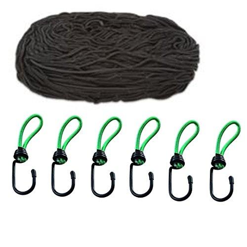 iapyx® Anhängernetz, 125 x 210 cm, dehnbar auf 200x 300 cm inkl. Expanderhaken zur Befestigung, (schwarz Plus)