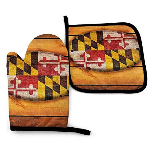 Juego de manoplas y porta ollas para horno con bandera de Maryland, esteras para mostrador de cocina, manoplas para horno resistentes al calor para cocinar, barbacoa, asar a la parrilla