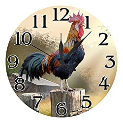 GeTJonesRiGhT Quartz Round Wall Clock,10 Inch Vintage Rooster Style Wall Clock,Silent Non Ticking Battery Operated Clock for Wall Decoration ,Clock for Kids Room,Bedroom,Kitchen