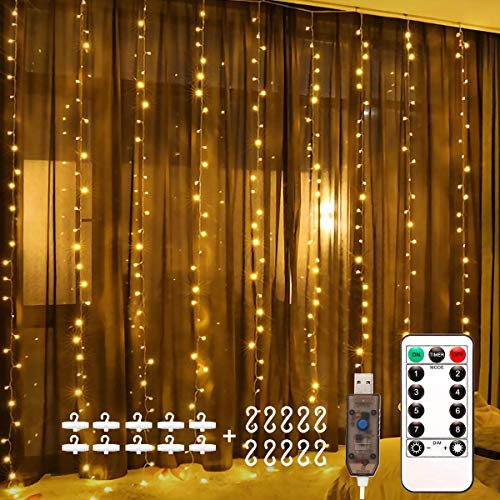 LED Window Curtain String Light,KRY Upgraded 3x3m 300 LED Fairy Lights with Hook, Remote Control Timer, 8 Modes Copper Lights, USB Plug in, for Indoor Bedroom Decor Party Wedding(Warm White)