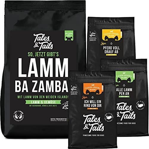 Tales & Tails - Probierpaket Fleisch für Hunde I Monoprotein I 100% Fleisch I Trainingsleckerli je 90g & Softfutter 1,5kg I getreidefrei, zuckerfrei I 4 Tüten - Sorten: Lamm, Pferd & Rind