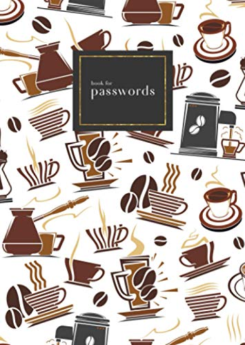 Book for Passwords: B6 Small Internet Address Notebook with A-Z Alphabetical Index   Coffee Maker Cup Bean Design   White