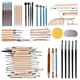 Tonsiki 61 Pieces Ceramic Clay Tools Set, Modeling Pottery Clay Sculpting Tools Kits for B...