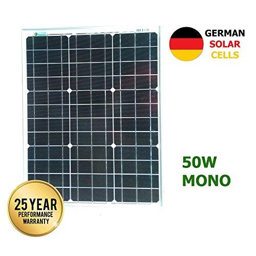 VIASOLAR Panel Solar monocristalino 50W 12V células alemanas