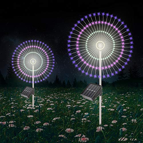 Solar Garden Decorative Lights Outdoor -Mopha Solar 120LED Powered 40Copper Wires String Landscape Light-DIY Flowers Fireworks Trees for Walkway Patio Lawn Backyard,Christmas Party Decor(8-Mode)