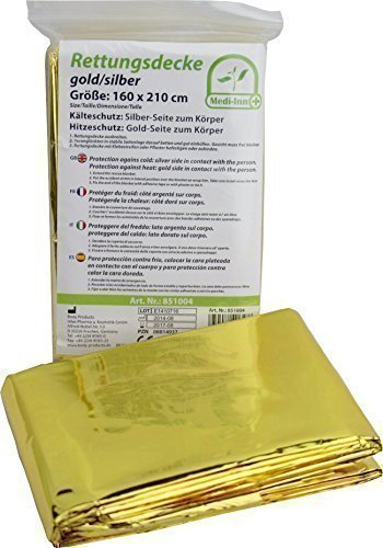 Medi-Inn Rettungsdecke gold silber | 160 x 210 cm | Notfalldecke für Erste Hilfe | Kälteschutz | Hitzeschutz (1 Stück)