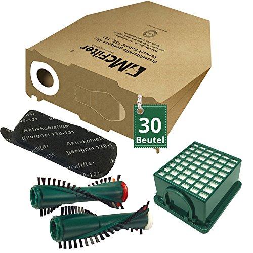 AVR-Handel 34 TLG Spar Angebot 30 Staubsaugerbeutel Filter Set und Bürsten passend für Vorwerk Kobold VK 130, Kobold VK 131 und 131 SC mit EB 350 / EB 351