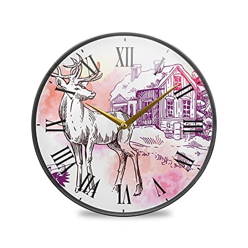 Arte De Ciervo Romántico Arte Reloj de Pared Silencioso Decorativo Relojs para Niños Niñas Cocina Hogar Oficina Escuela Decoración