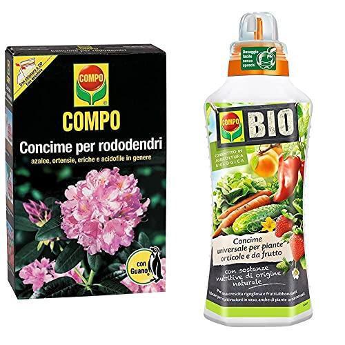 Compo Concime Rododendri con Guano 4x3 kg, 9.4 x 18.3 x 32 cm & Concime Universale Biologico per Piante Orticole e da Frutto, 1 Litro, 9 x 7.9 x 28 cm
