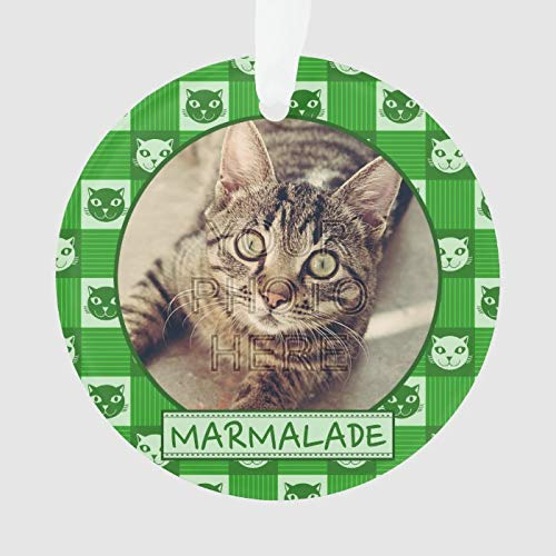 Cat Cute Green Kitty Gingham Add Custom Photo Name Ornament Personalized 3 Ihch Ceramic Ornament Christmas Tree Decration