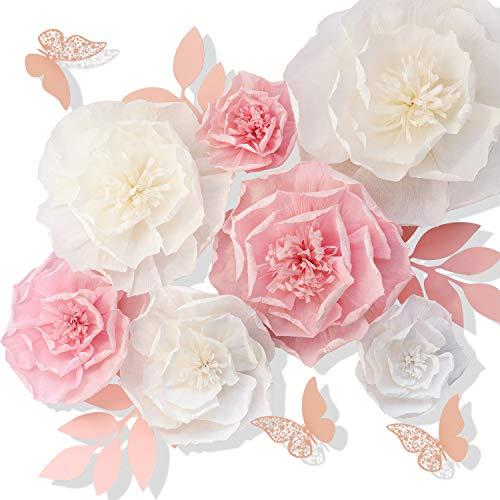 Seidenpapier-Blumen, rosa, weiß, Set mit 13 Stück, Bastel-Krepp-Wanddekoration, DIY riesige Dekoration für Wand, Baby, Kinderzimmer, Hochzeit, Kulissen, Brautparty, Mittelstück, Monogramm