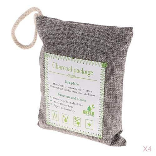 #N/A/a Paquete de 4 Bolsas Purificadoras de Aire Nature Fresh Style Charcoal Bamboo Bag con Cuerda