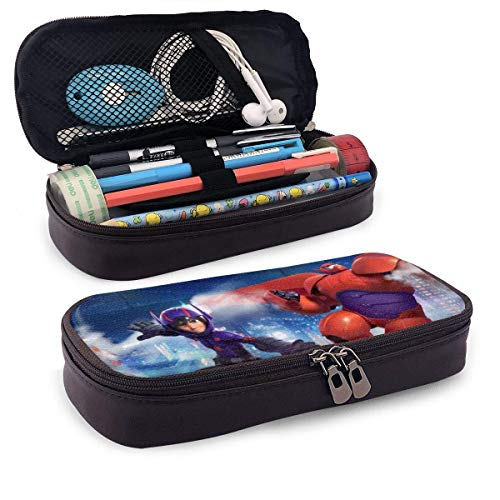 TYHYT astuccio Big Hero Leather Zipper Pencil Cases, Boys' and Girls' Pencil Case for School Office Pencil Case Stationery Multifunctional Storage Bag