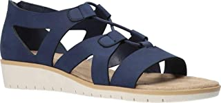 Easy Street Women's Wedge Sandal, Navy, 6 Wide