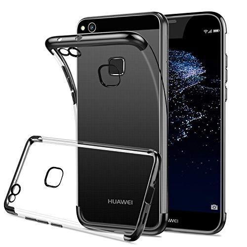 HOOMIL Trasparente Silicone Cover per Huawei P10 Lite, Clear Custodia per Huawei P10 Lite Smartphone, Nero Bumper