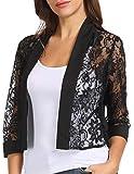 Lightweight Splicing Lace Cardigan Jacket Slim Fit Outwear(Black,XXL)