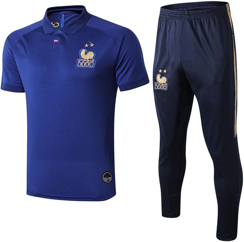 World Cup French Jersey Kurzarm Trainingsanzug Set Revers Polo Herren T-Shirt Hosen