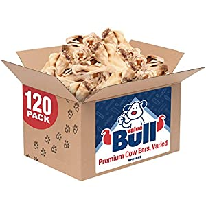 ValueBull Cow Ears, Varied Sizes/Shapes, 120 Count – All Natural Dog Treats, 100% Angus Beef, Single Ingredient Rawhide Alternative, Fully Digestible, Cleans Teeth & Gums