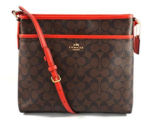 Coach Signature File Crossbody Bag Purse Handbag (Brown/Carmine)
