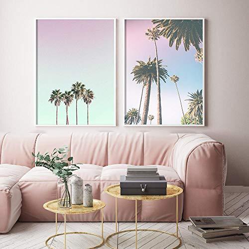 Tablas de surf para niñas, carteles e impresiones, árbol de coco, hojas de palmera, autobús en la pared, arte, lienzo, pintura, cuadros de pared nórdicos para sala de estar, 40x60cmx2 sin marco