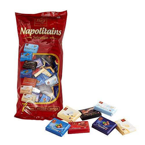 Frey 1kg Napolitains Classics - Blau - Schokolade Mischbeutel – Schweizer Mini-Schokoladentafeln aus 6 Sorten - Großpackung 1x 1000 g - UTZ-zertifiziert