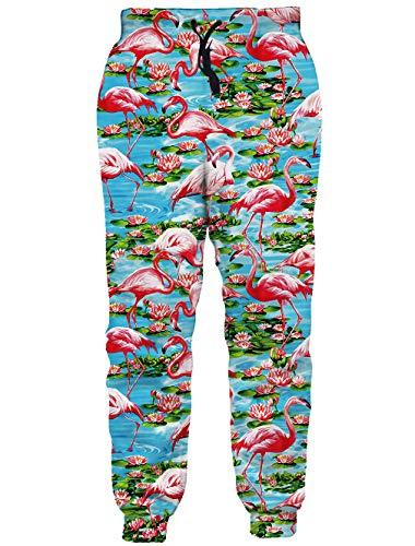 RAISEVERN Unisex Sweatpants Tropical Flamingo Jogging Pants Cool Hawaiian Sports Trousers with Drawstring for Men &Women