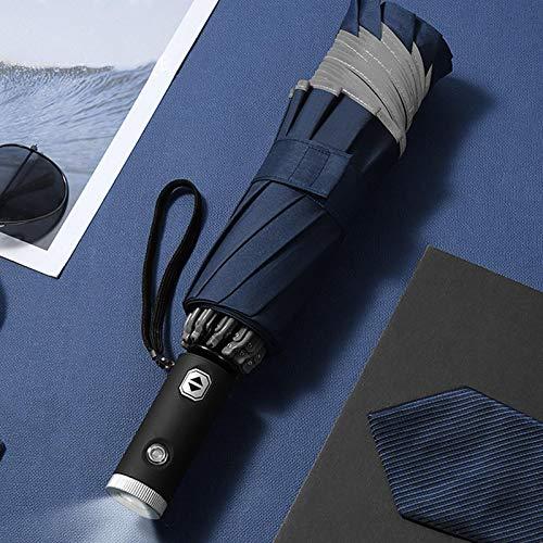 Horypt LED reflektierender Regenschirm, umgekehrter Regenschirm Reiseschirm mit LED-Taschenlampengriff für 1-2 Personen