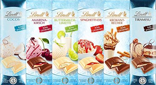 Eis Tiramisu Eiscafe Krokant-Becher Buttermilch-Limette Cocos Amarena-Kirsch Spaghetti-Eis Vollmilch und Weisse Schokolade 7 x 100 gr.