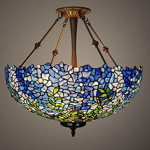 Lámpara De Luz De 20 Pulgadas Lámpara Pendiente Araña Europea Creativa Vidrio Teñido Luz Colgante para Restaurantes De Dormitorio Hyococ
