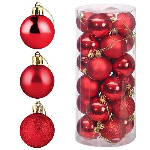 POFET 24pcs 4 cm rosso palle di Natale palle ornamento ciondolo per festa di natale decorazione giardino