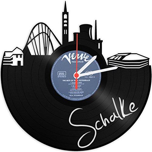GRAVURZEILE Wanduhr aus einer echten Schallplatte - Wähle eine Stadt - 30cm Groß lautloses Uhrwerk - Schallplattenuhr, ideale Geschenkidee Skyline Schalke