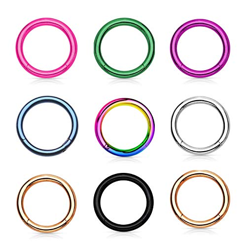 Lumous Rola Surgical Steel Clicker Nose Ring Cartilage Helix Tragus Earring Hoop Lip Piercing Jewellery for Women Mens 14G 16G 18G 6mm-12mm (1 Pc 1.0*8mm Rainbow)