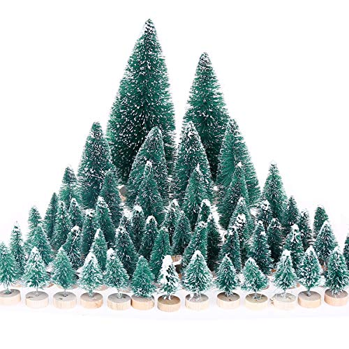 MELLIEX 60 PCS Miniature Artificial Christmas Tree Tabletop Snow Frosted Trees with Wood Base for Christmas Party Home Decoration