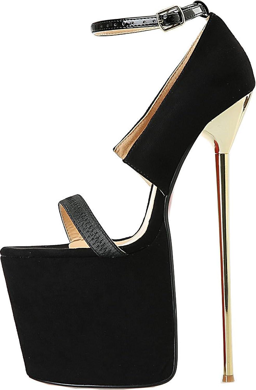 Vimedea Womens Heeled 8.7IN Cross Dressing Oversize Platform Ankle Strap Sandals A32