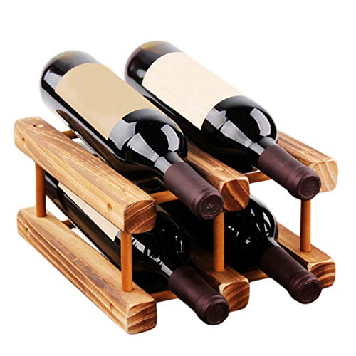 YYZLL Soporte para vino tinto de madera para botellas de bebidas, estante organizador de accesorios de cocina, color tostado M