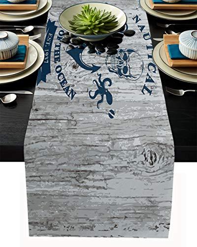 FAMILYDECOR Chemin de table en toile de jute 33 x 274 cm, esprit nautique de l'océan, ancre, campagne, chemins de table pour fêtes, salle à manger, cuisine, décorations de mariage